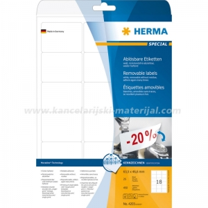 Herma etikete Superprint 63x46.6mm A4/18 1/25 removable